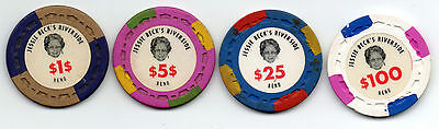 Jessie Beck's Riverside Casino Chips $1 $5 $25 $100.00 Reno NV Small Crown Mold