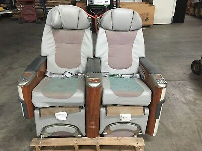 First Class Airplane Seats (2) Electric Controls ~Recline~Fold Out Tables~1