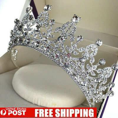 Baroque Silver Bridal Girl Prom Jewelry Rhinestone Crown Tiara Comb HeadBand USA