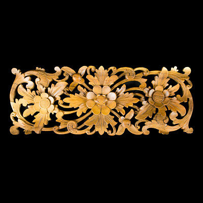 Natural wood color LOTUS FLOWER carved relief panel Bali Wall Art architectural