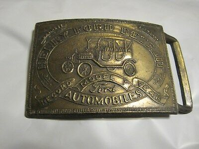 Vintage Henry Ford Detroit Solid Brass Belt Buckle Model T Record Year