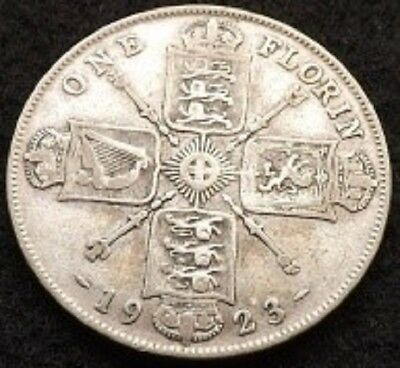 1923 George V .500 Silver Florin / Two Shillings Coin UK Great Britain