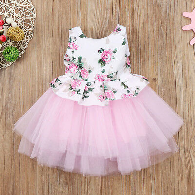 Newborn Toddler Baby Girls Princess Floral Pink Tutu Tulle Party Dress Dresses