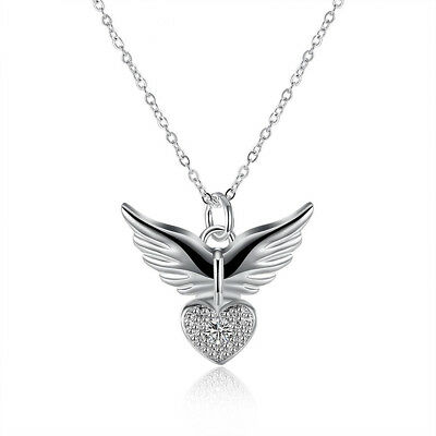 Vintage 925 Silver Heart Angel Wing Charm Pendant Women Necklace Jewelry