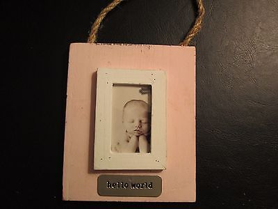 "Pink Wood Baby Photo Frame by Mud Pie, ""Hello World"" New"