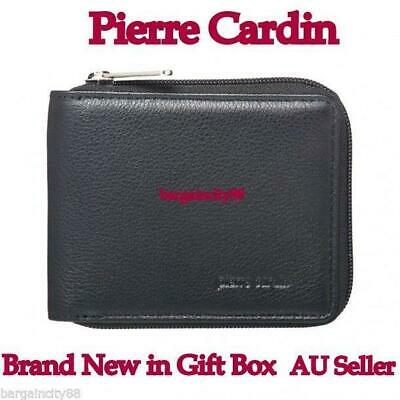 Pierre Cardin RFID Blocking 100% Italian Leather Mens Zip Around Wallet+gift Box
