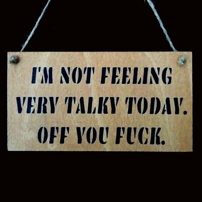 Funny Sign, Wooden Sign, Rude, Man Cave, Garage, Office, Workshop, 15x8cm