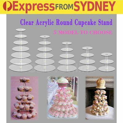 3 4 5 6 7 Tier Acrylic Round Cupcake Cake Stand Party Birthday Wedding Event RR