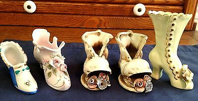 Lot Of  Vintage Shoe Collectibles, One Hightop Calif., 2 Italy, Lefton, Japan