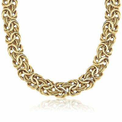 Stainless Steel Womens 18 Karat Gold Plated 8mm Byzantine Necklace