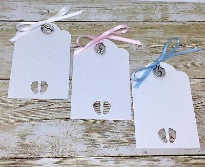 Baby Shower card TAGS gift labels wish tree Boy Girl - blue/pink/white ribbon