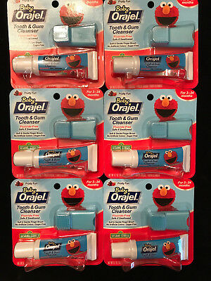 6 Orajel Baby Elmo Tooth and Gum Cleanser with Finger Brush, Fruity Fun, 0.7 Oz