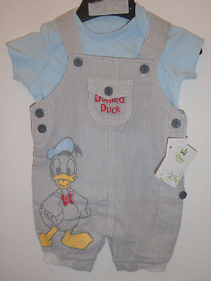 DISNEY - Lovely Baby Boys Donald Duck Summer Dungarees Outfit 3-6 Months NEW
