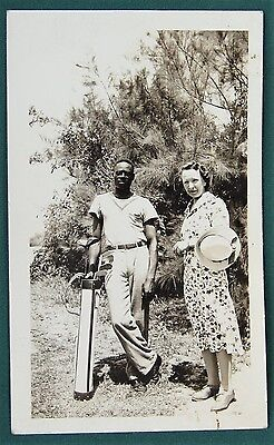 White Woman w her Black Golf Caddy - vintage photograph of Aunt Bernice Hague