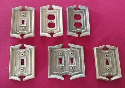 Vintage Brown Plastic Outlet & Switch Plate Covers Lot of 6