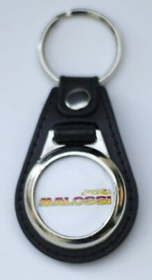 Malossi Black Leather Style Keyring with Malossi Logo (1049)