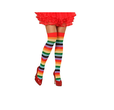 Adult one size or XL rainbow striped over knee socks clown panto LGBT gay pride