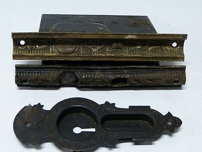 1870's Cast Brass & Iron Mallory Wheeler Pocket Door Mortise Locks & Escutcheon