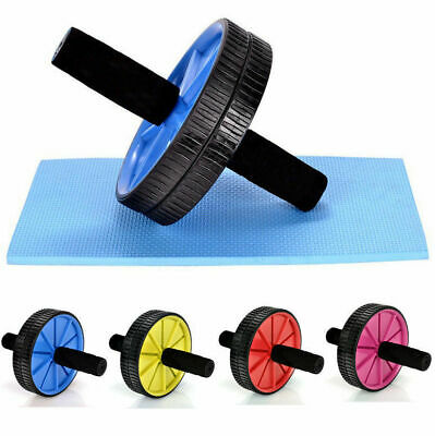 Dual Ab Wheel Roller Abdominal Exercise Abs with Knee Mat Pad Training Workout