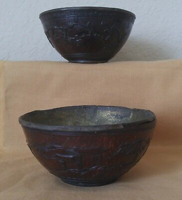 """Lot of 2 Antique Chinese Carved Coconut Shell TEA BOWLS CUPS ea 3 7/8"""" x 1 7/8"""""""