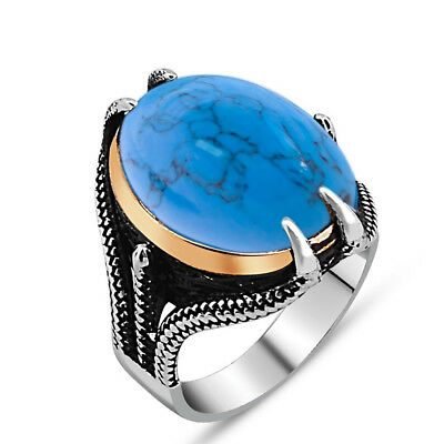 Handmade 925 SILVER Turkish rings turquoise stone Men jewelry all sizes RRP £40