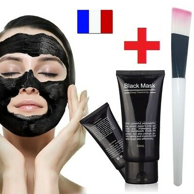MASQUE ANTI ACNE CHARBON POINTS NOIRS BLACK MASK PEELING SOIN VISAGE 48h+Pinceau