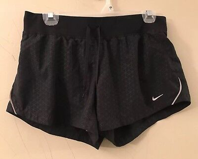 Nike Dri-fit Women's Black Tempo Running Lined Athletic Shorts Size Medium M