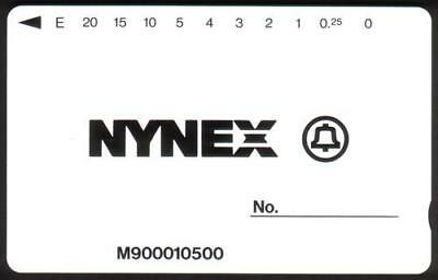 $20. NYNEX Maintenance Card (To Test Yellow Phones) White Background Phone Card