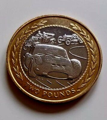 Isle Of Man £2 Pound Coin 1998  Vintage Car Rally Jaguar - Ferrari - Rolls Royce