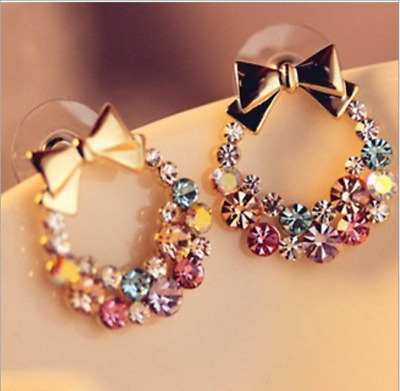 Fashion Women Lady Elegant Crystal Rhinestone Ear Stud Earring Jewelry XMAS Gift