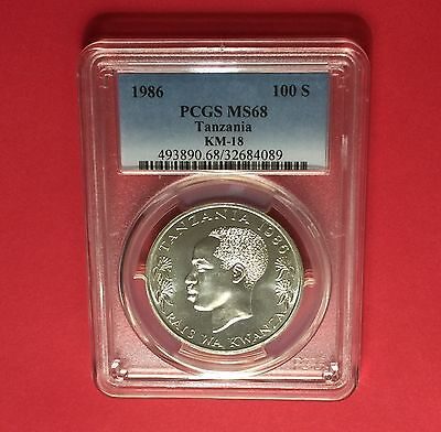 Tanzania -1986,100 Shilling ,certified by PCGS MS68 coin...rare grading.