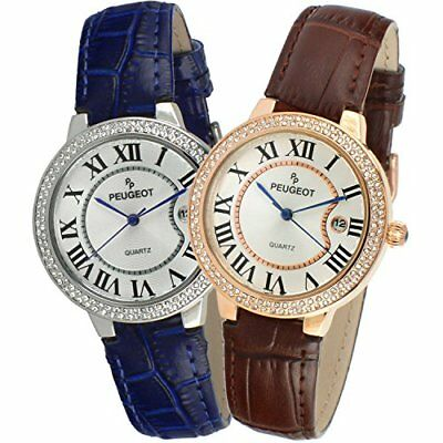 Peugeot Women's Crystal Bezel Leather Strap Analog Display Date Watch