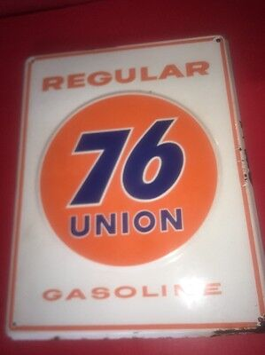 HTF original Union 76 Porcelain Gasoline Embossed Gas Pump Oil advertising sign