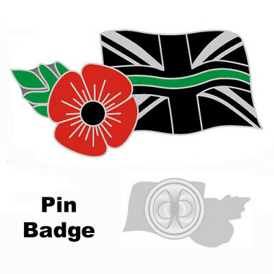 Thin Green Line Poppy Uk Ambulance Medic Mourning Band Remembrance Badge Pin Tie