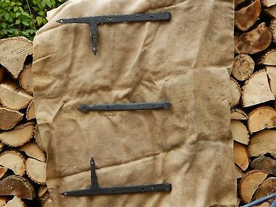 Antique Hand Forged Iron Strap Hinges Set of 3 , 19th possibly 18th century