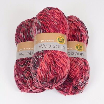 Lion Brand Yarn 671-500 Lion's Pride Woolspun Yarn, Sparks Mix(Pack of 3 skeins)