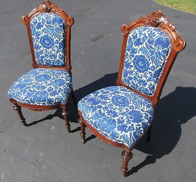 Pair of Walnut Carved Victorian Side Chairs, Blue and White Floral Upholstery
