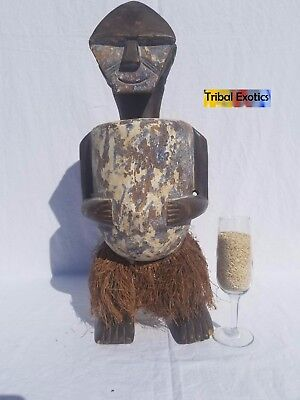 authentic tribal African Art - Ambete Reliquary Figure Sculpture Statue Mask