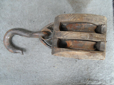 Vintage/Antique Double Pulley Wood Block Needs Tackle or Rope