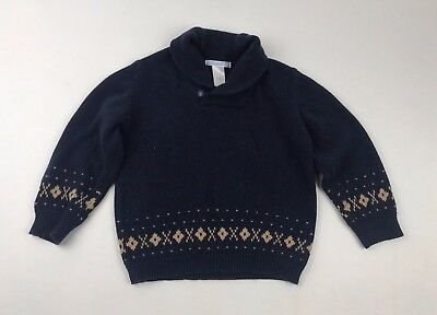 Janie and Jack Boys 2T Navy Cowl Neck Button Cotton Wool Blend Sweater