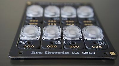 Zifnu WS2812b Addressable RGB LED Breakout Board with HQ Lens (panel of 8)