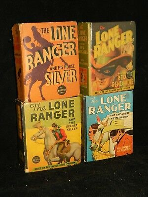 Lot of 4 The Lone Ranger Big Little Books BLB 1930's-40's Pictures of Each Book
