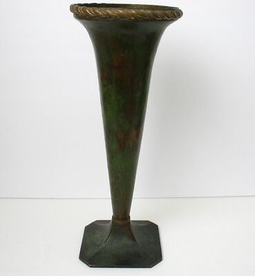 "12"" Antique/Vintage Hand-Made Bronze? Brass? Metal Flower Vase"