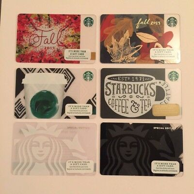 Set of 6 Starbucks Collectible Gift Cards - NEW - Unused - Free US Shipping
