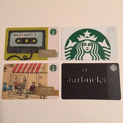 Set of 4 Starbucks Collectible Gift Cards - NEW - Unused - Free US Shipping
