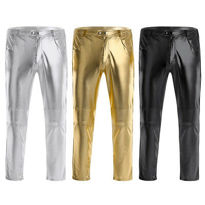 New Men Faux Leather Pants Biker Motorcycle Tight Pencil Pants Trousers No Belt
