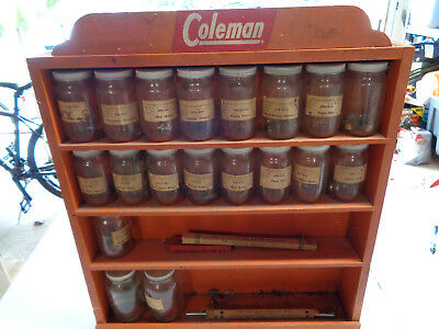 Vintage Coleman Orange Wooden Lantern Parts Shelf Display Jars Rack Rare Store