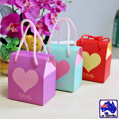 10x Wedding Heart Love Chocolate Cookie Candy Bag Gift Box Party Favour WOSE745