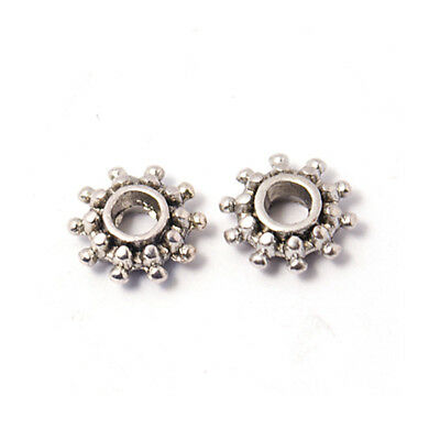 100pcs Tibetan Alloy Sun Metal Beads Retro Spacers Findings Antique Silver 9x3mm