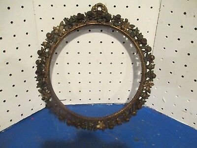 Antique Ornate flowers Cast Iron  Picture Mirror Frame Victorian